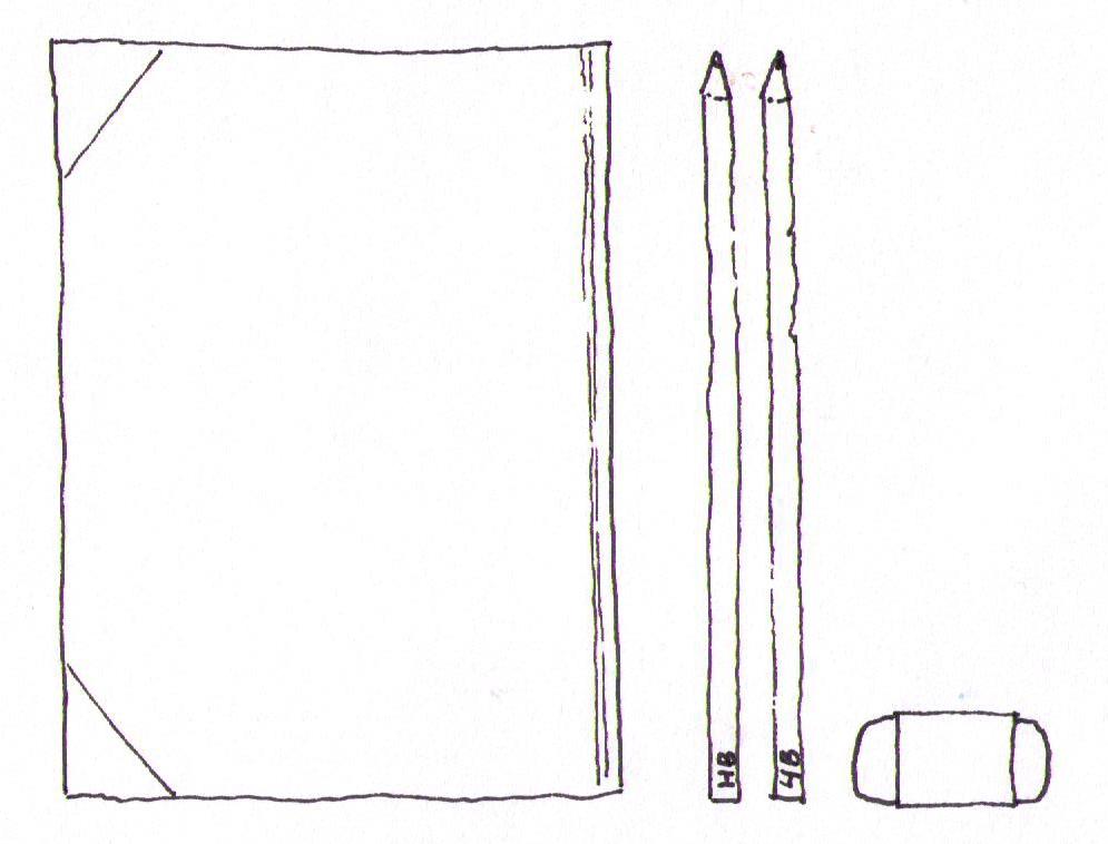 book pencils and eraser