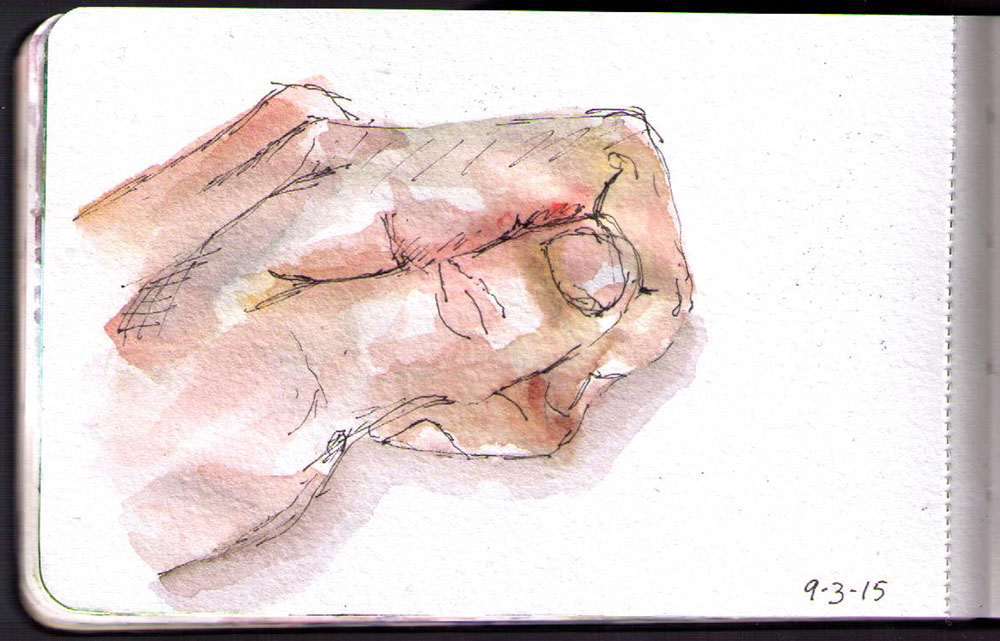 Drawing of my hand in pen and watercolor