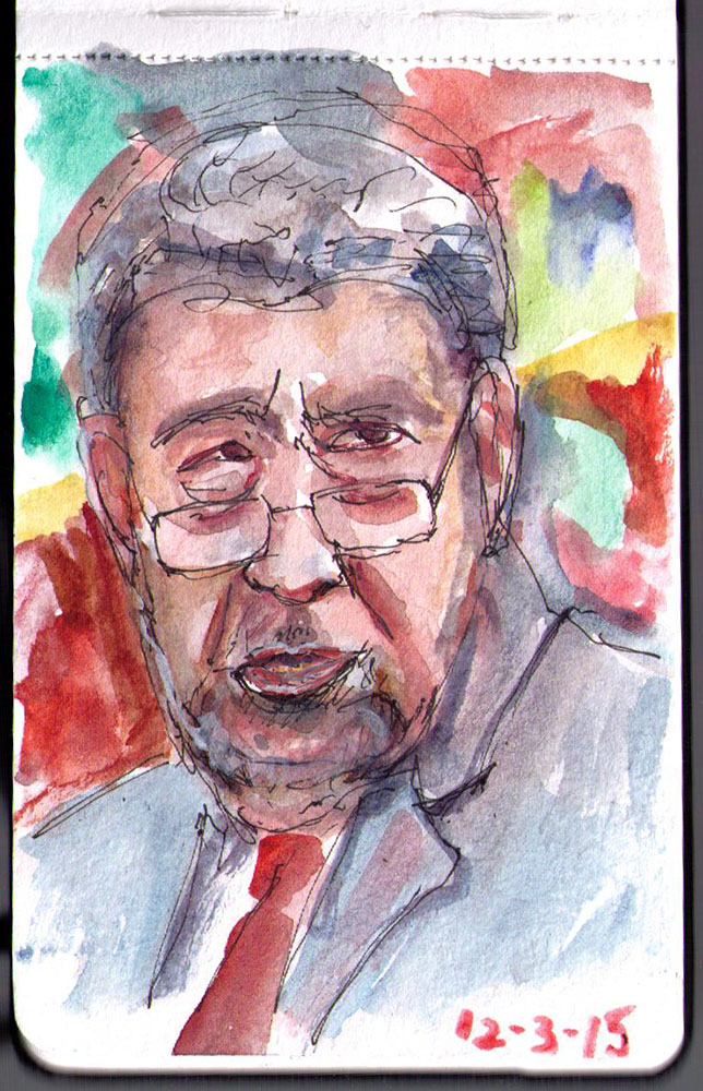 Portrait of Ralph Gonsalves, the Prime Minister of Saint Vincent and the Grenadines in watercolor and fineliner pen