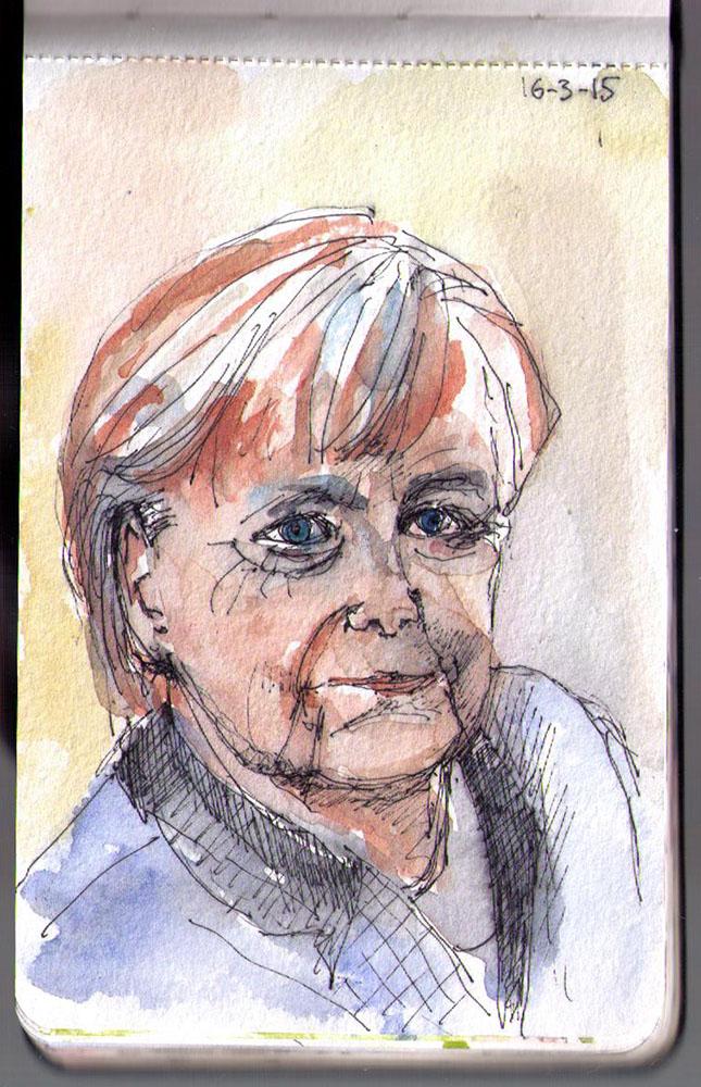 Portrait of Angela Merkel in ink and watercolor