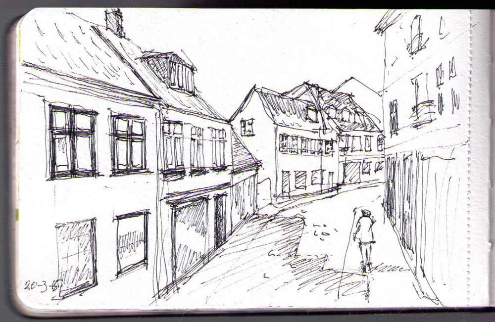 Drawing of Badstuegade in Århus with ballpoint pen