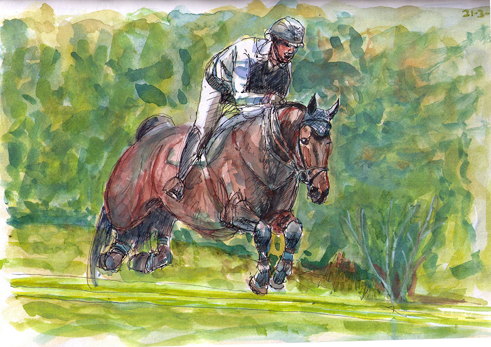 Drawing of a horse and rider jumping in watercolor and ballpoint pen