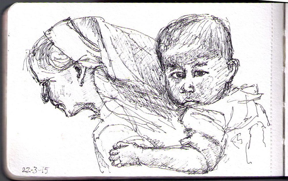 Drawing of grandmother and child in Yunnan, China. Ballpoint pen