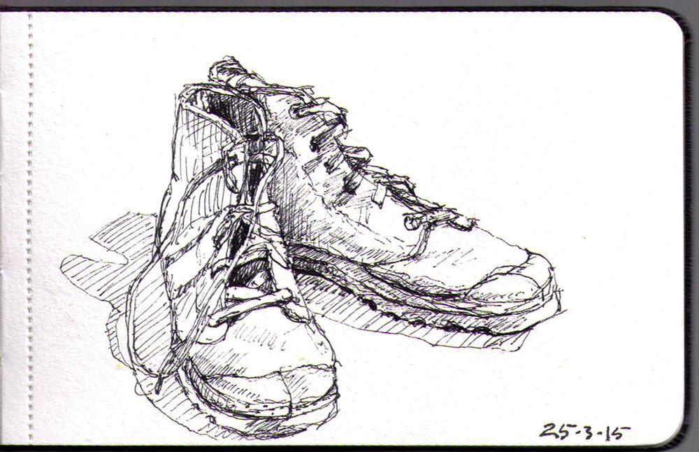 Drawing of palladium boots in ballpoint pen