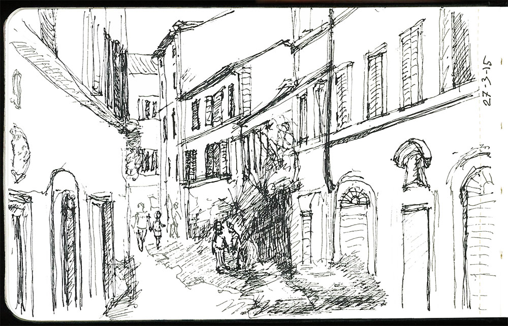 Perspective drawing in the streets of Rome
