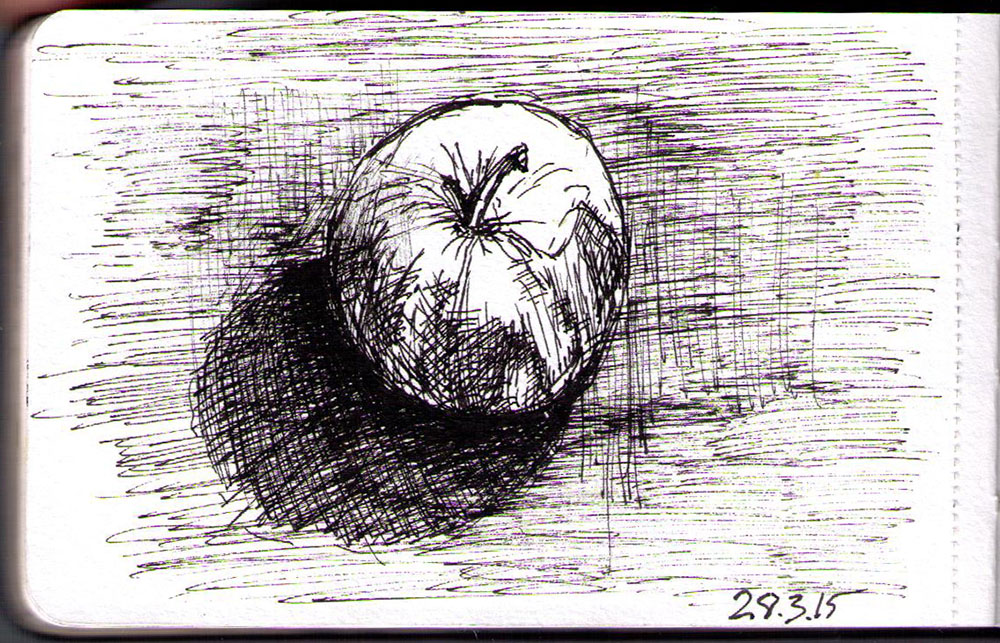 Drawing of an apple in ballpoint pen