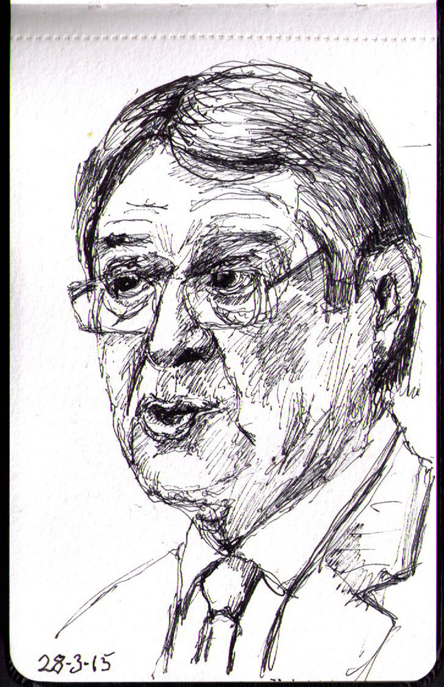 Portrait of Nicos Anastasiades in ballpoint pen