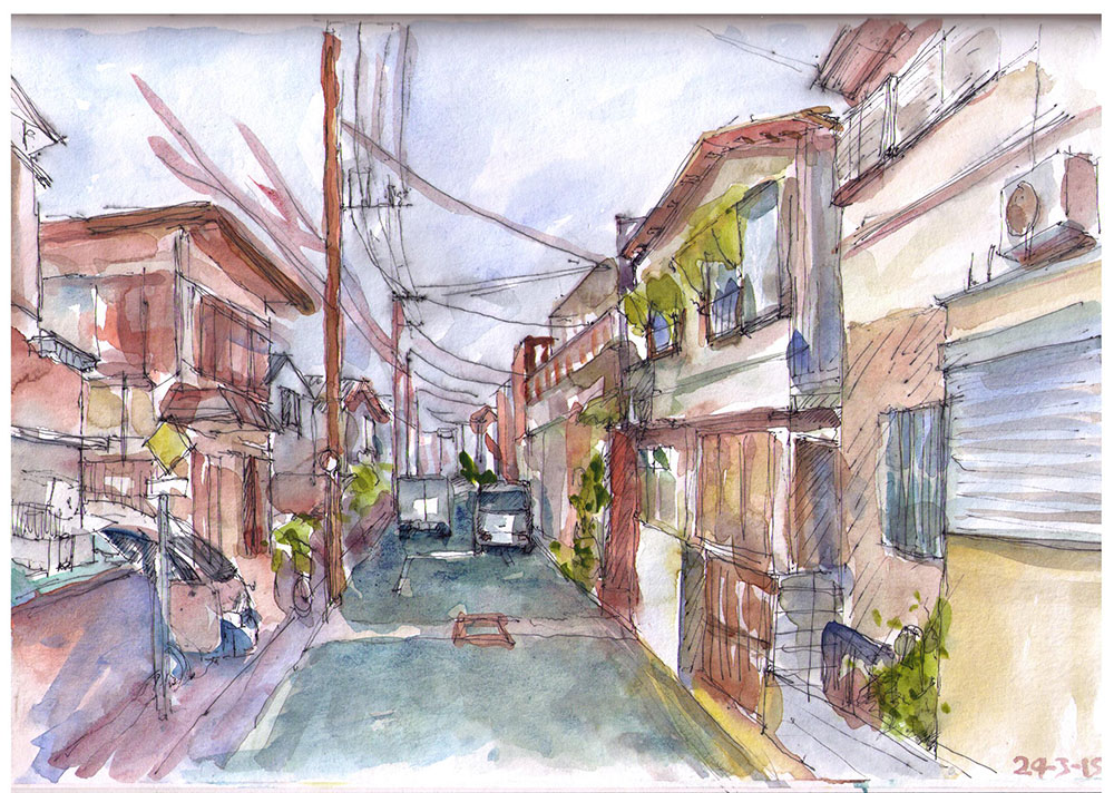 Painting of a street in Tokyo, Japan in watercolors and ballpoint pen