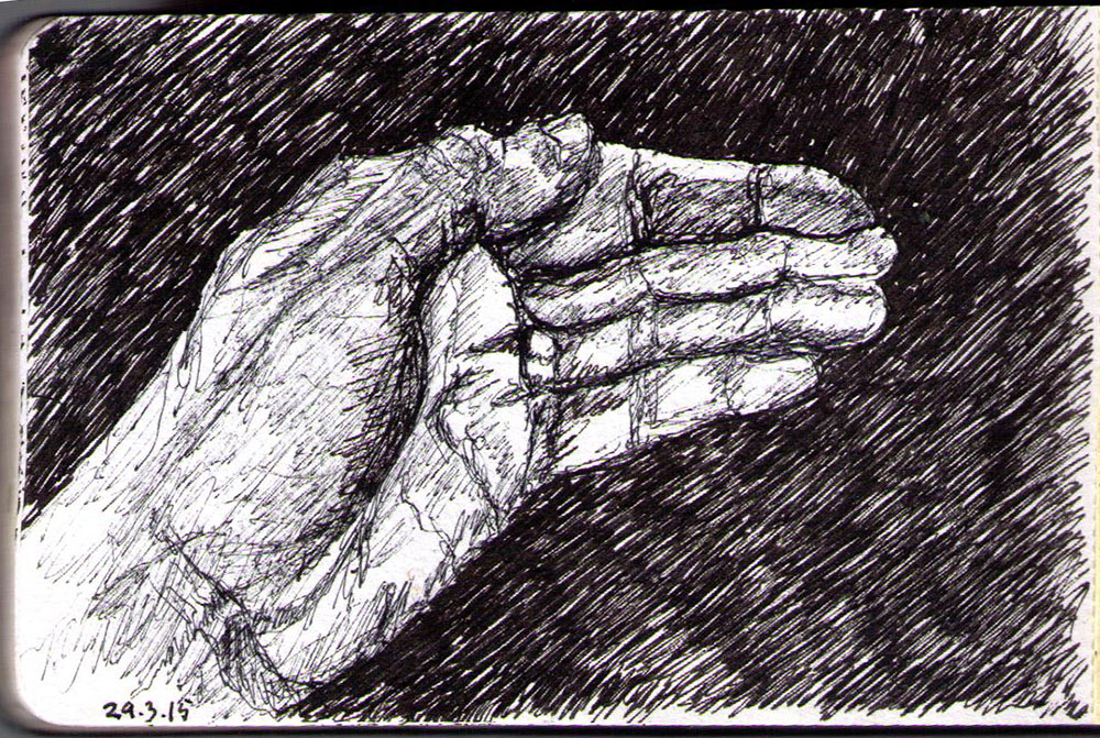 Drawing of hand in ballpoint pen