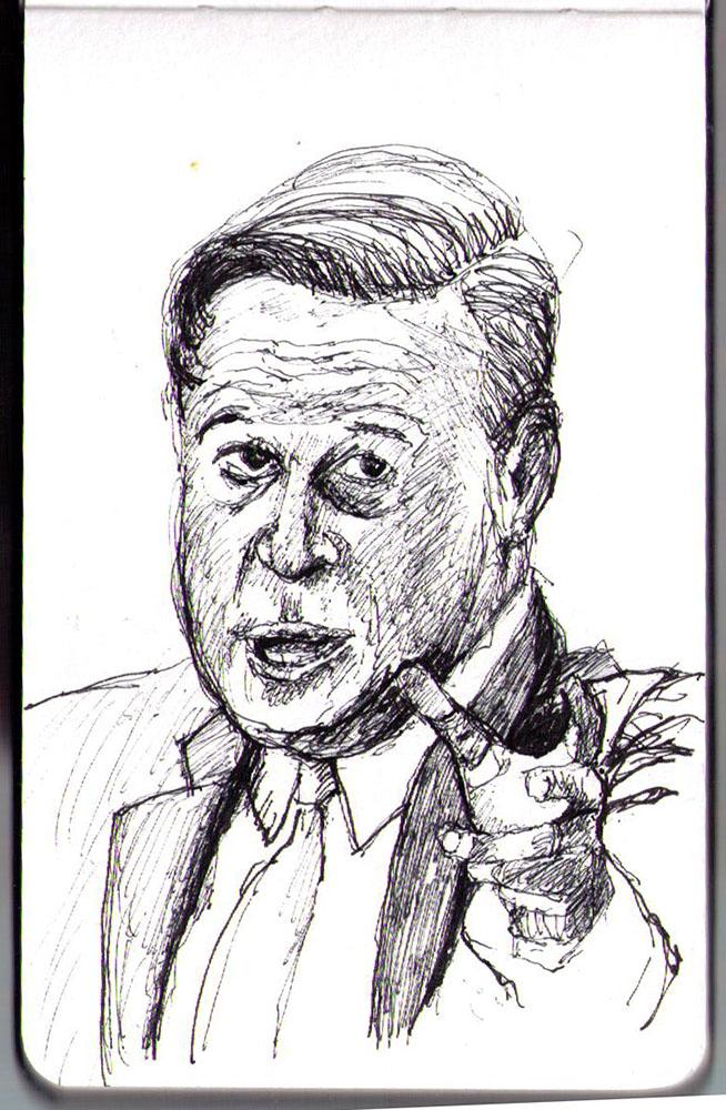 Ballpoint pen portrait of Juan Carlos Varela the president of Panama