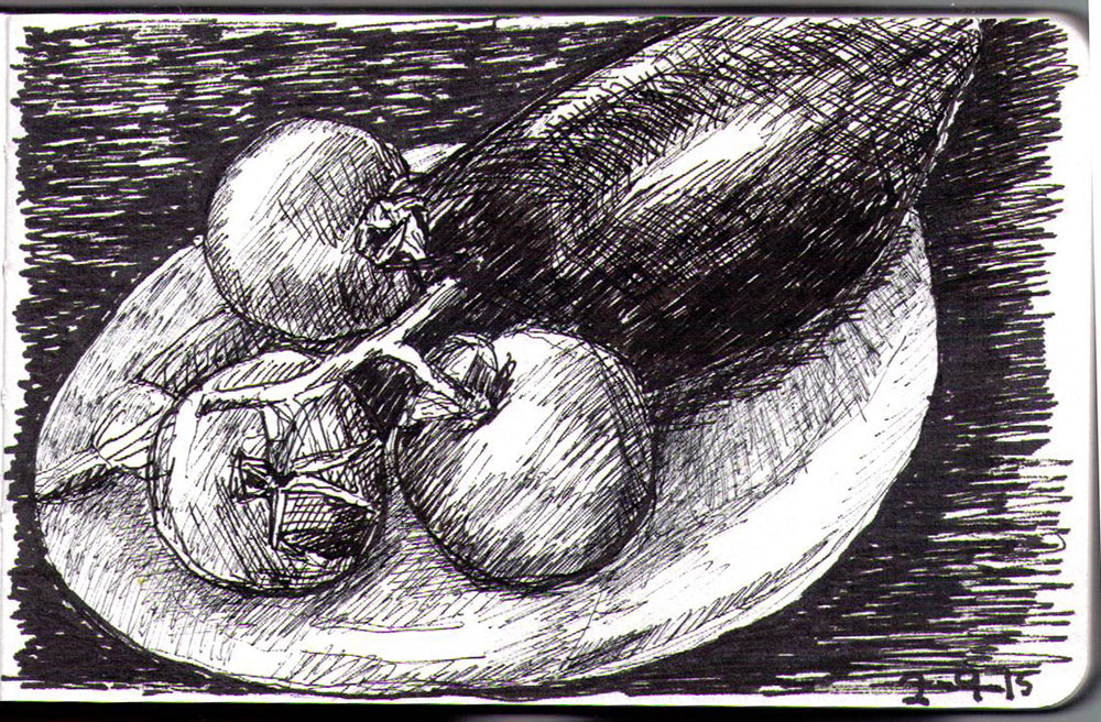 Drawing of three tomatoes and an eggplant in ballpoint pen