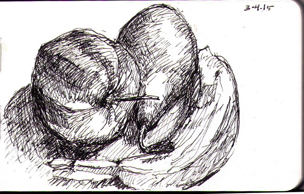 Still life of an apple a pear and a banana in ballpoint pen