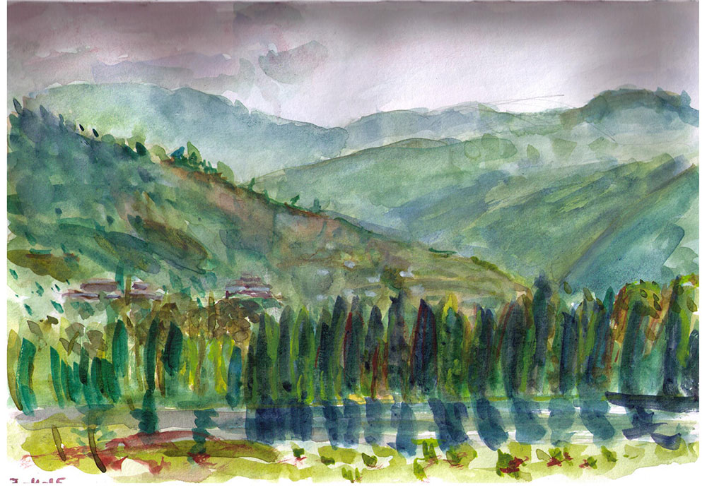 Landscape painting in watercolor from streetview. Bhutan