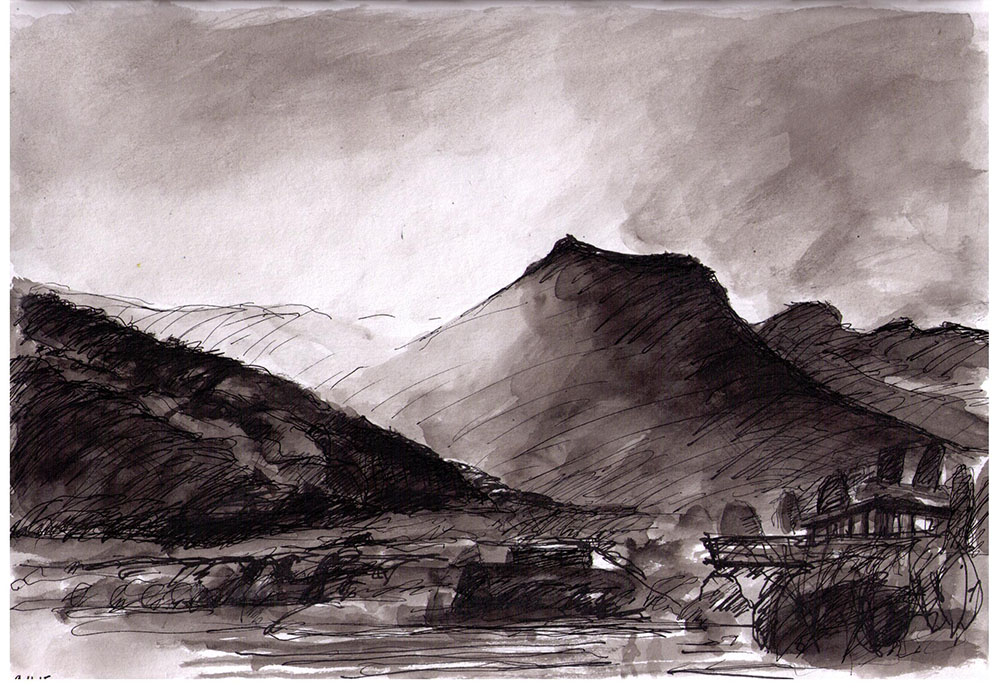 Landscape in Bhutan in india ink and ballpoint pen
