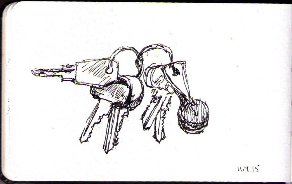 Sketch of keys in ballpoint pen