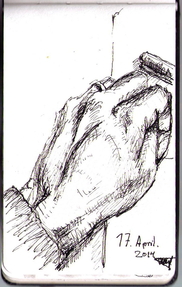 A sketch of my hand in ballpoint pen