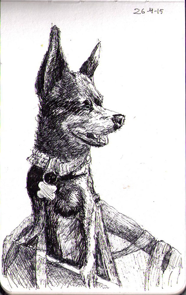 Ballpoint pen drawing of a dog called Nacho