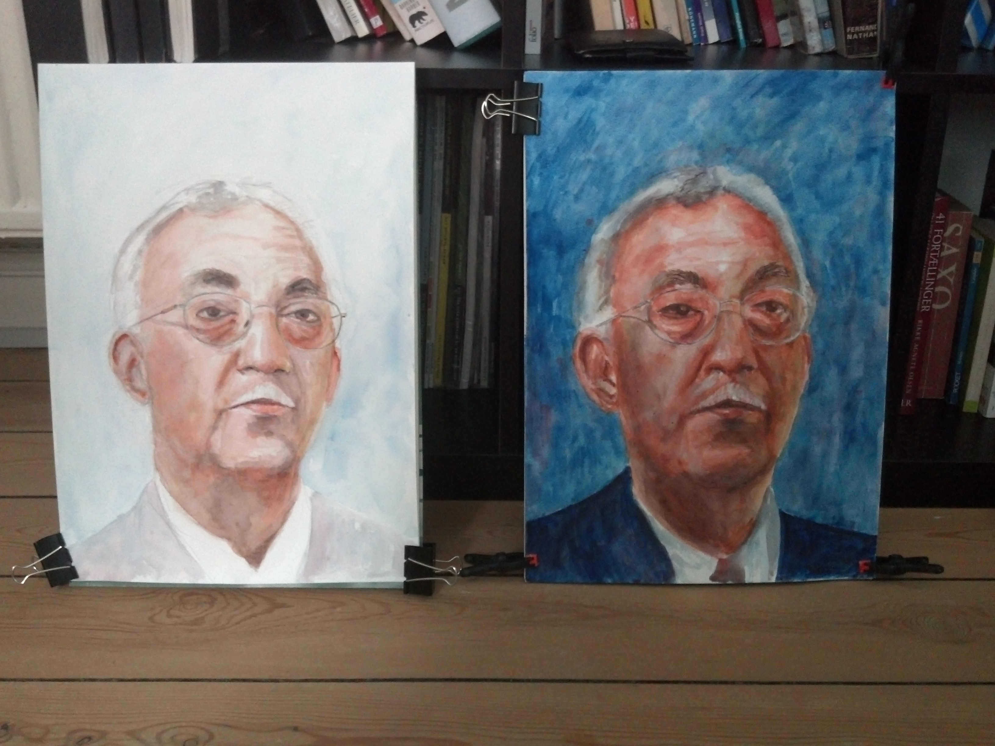 photo of two portraits of Toke Talagi premier of Niue in watercolor