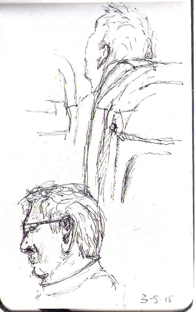 Sketch of airline passengers in ballpoint pen