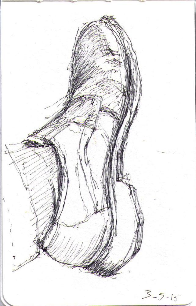 Drawing of my shoe in ballpoint pen