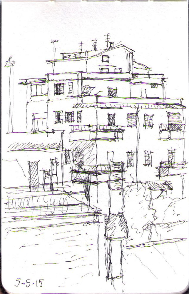 Sketch of a house in Marino south of Rome