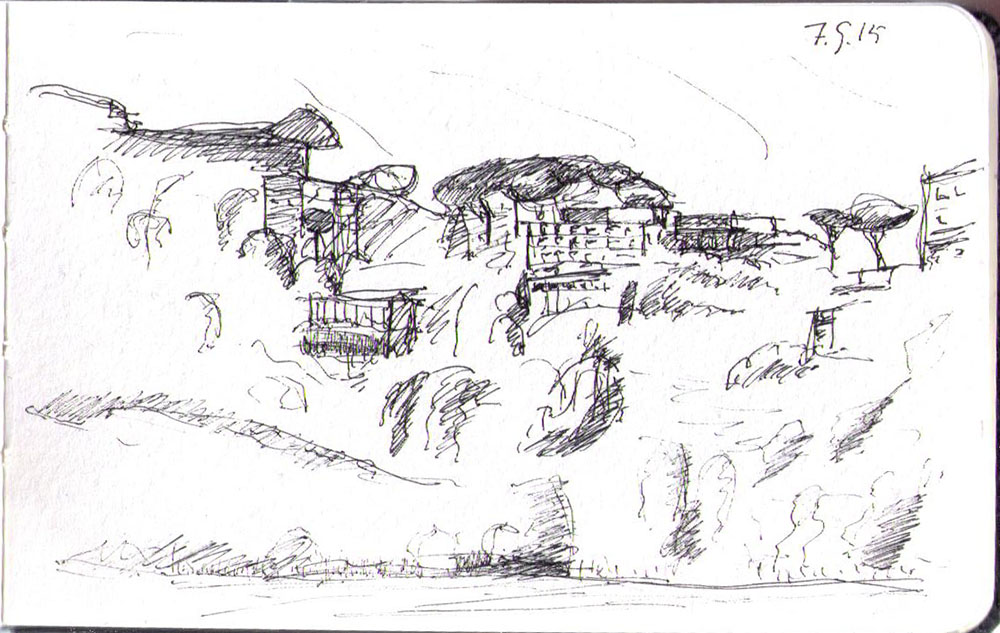 Drawing of buildings on a hillside by Lago Albano in Italy ballpoint pen