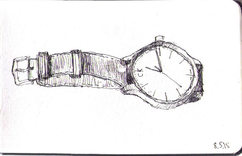 Still life drawing of my watch in ballpoint pen
