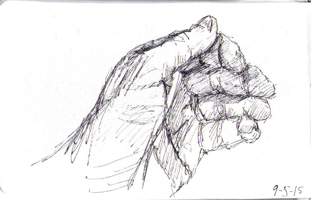 Sketch of my hand in ballpoint pen