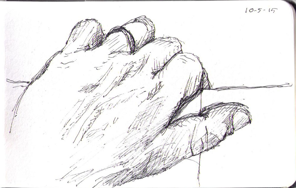 Drawing of my hand done in ballpoint pen
