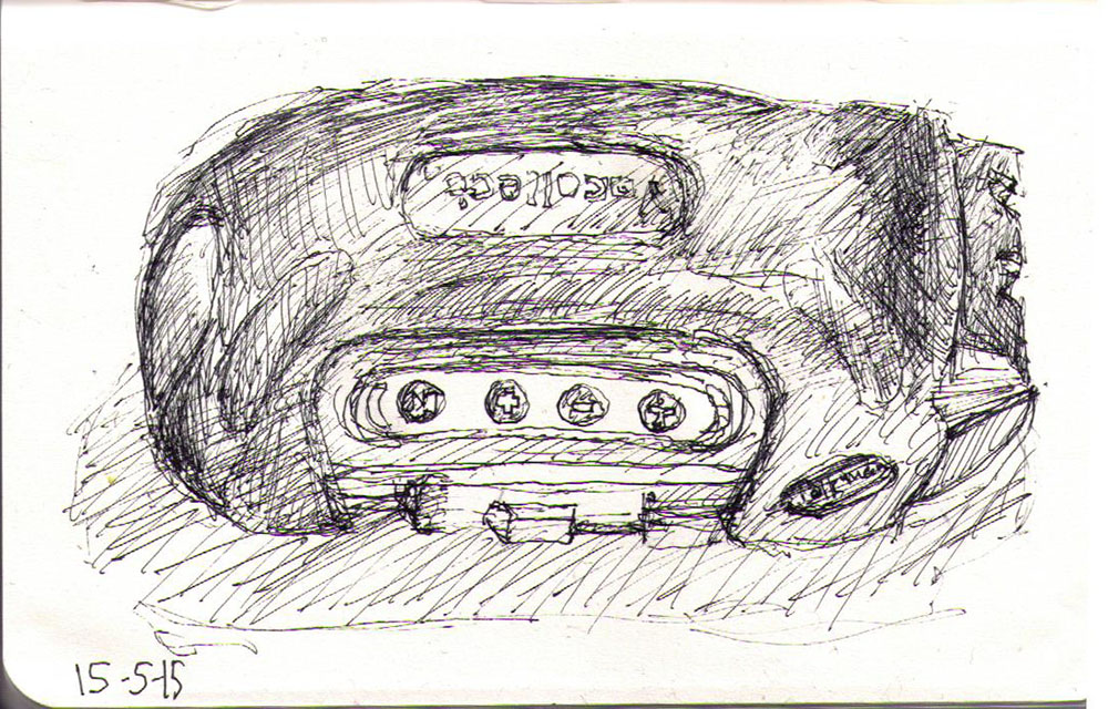 Drawing of an electronic gadget in ballpoint pen