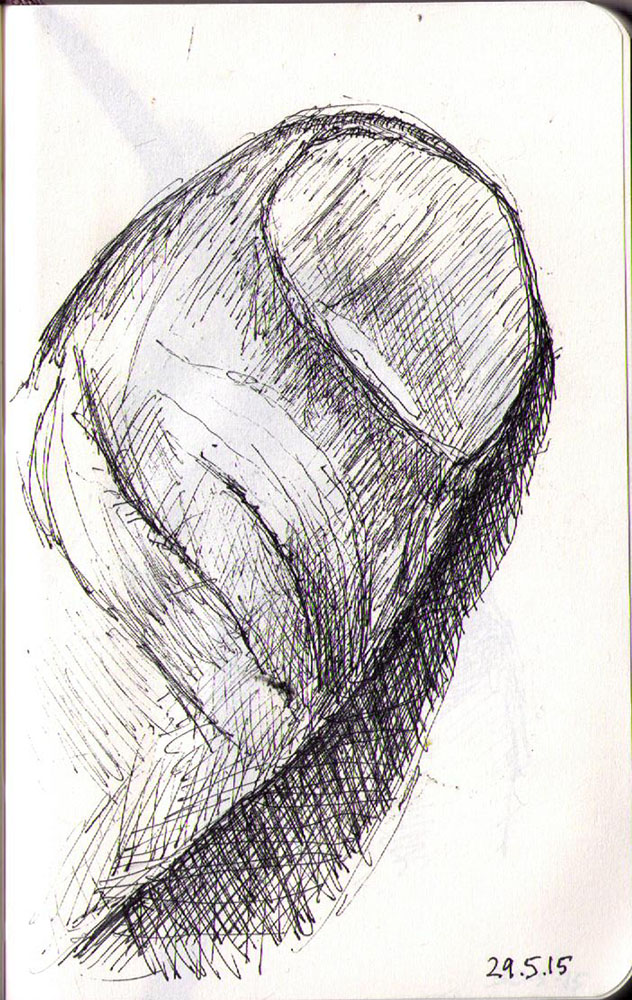 Drawing of my thumb in ballpoint pen