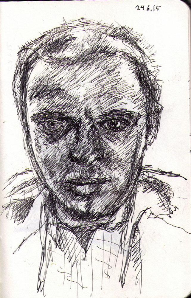 Self portrait in ballpoint pen