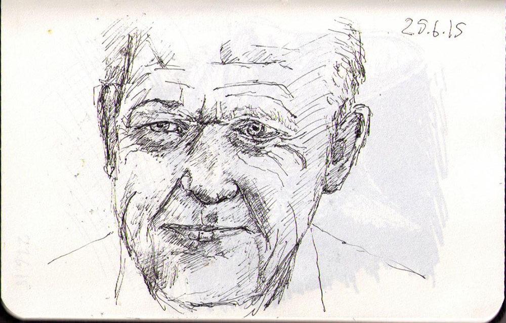 Drawing of future prime minister of Denmark, Lars Løkke Rasmussen