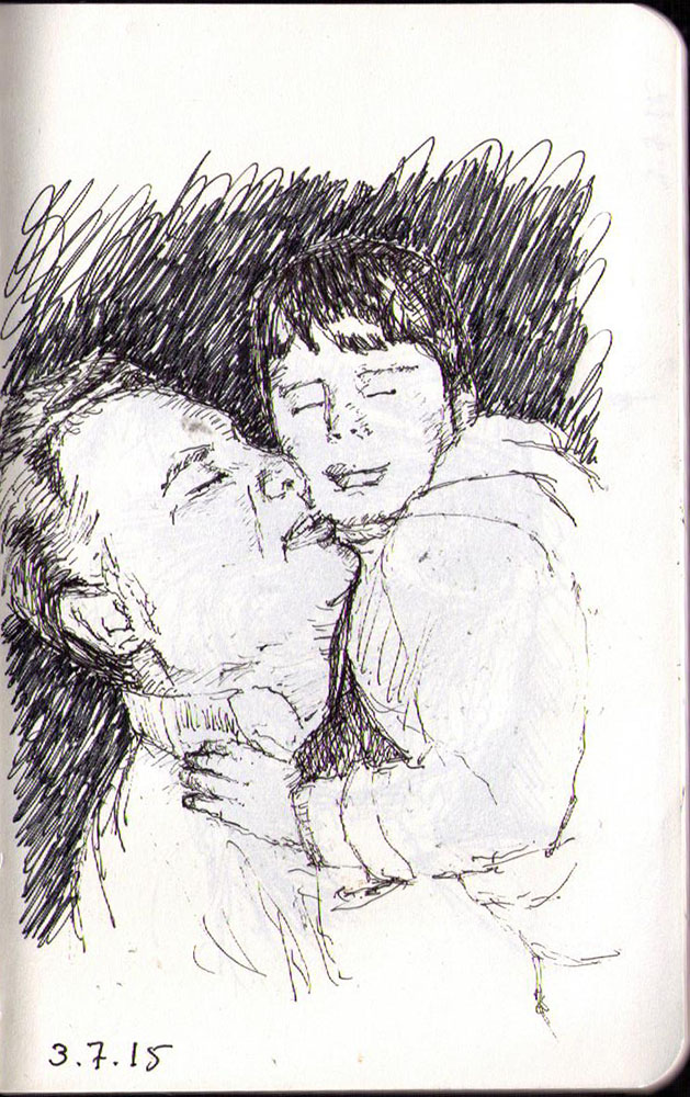 Drawing of a father and son in ballpoint pen