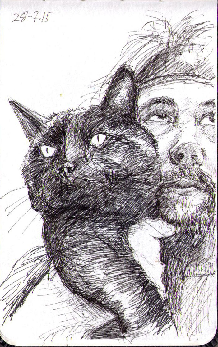 Drawing of Tom Cox with his cat in ballpoint pen