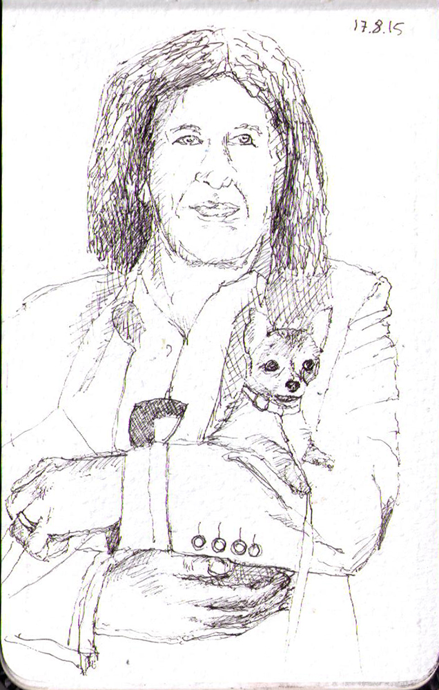 Drawing of Gene Simmons and his dog in ballpoint pen