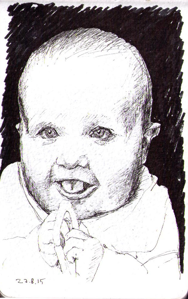 Drawing of a baby in ballpoint pen