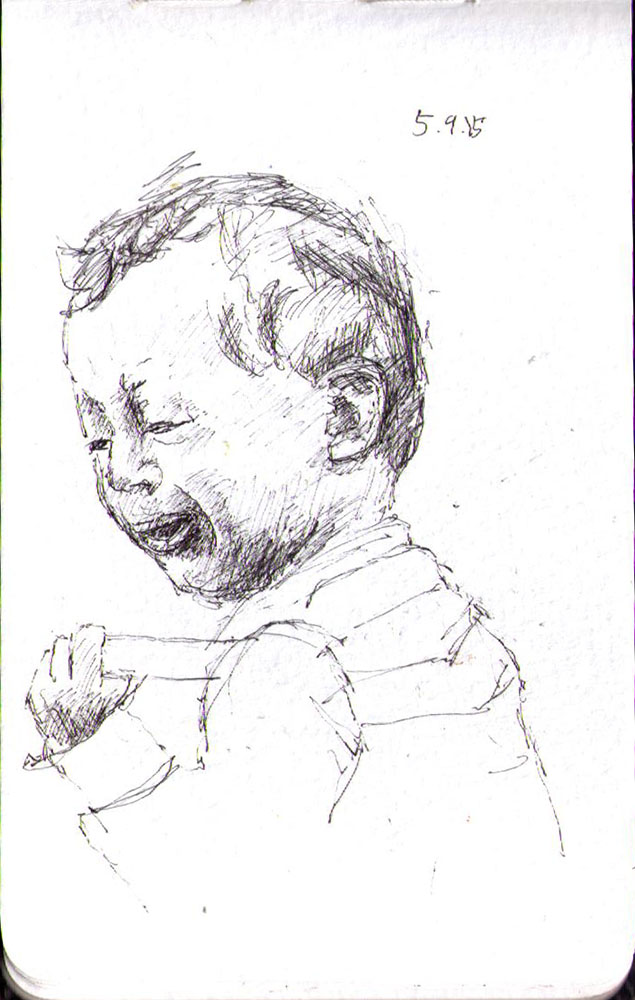 Drawing of a little refugee boy crying in ballpoint pen