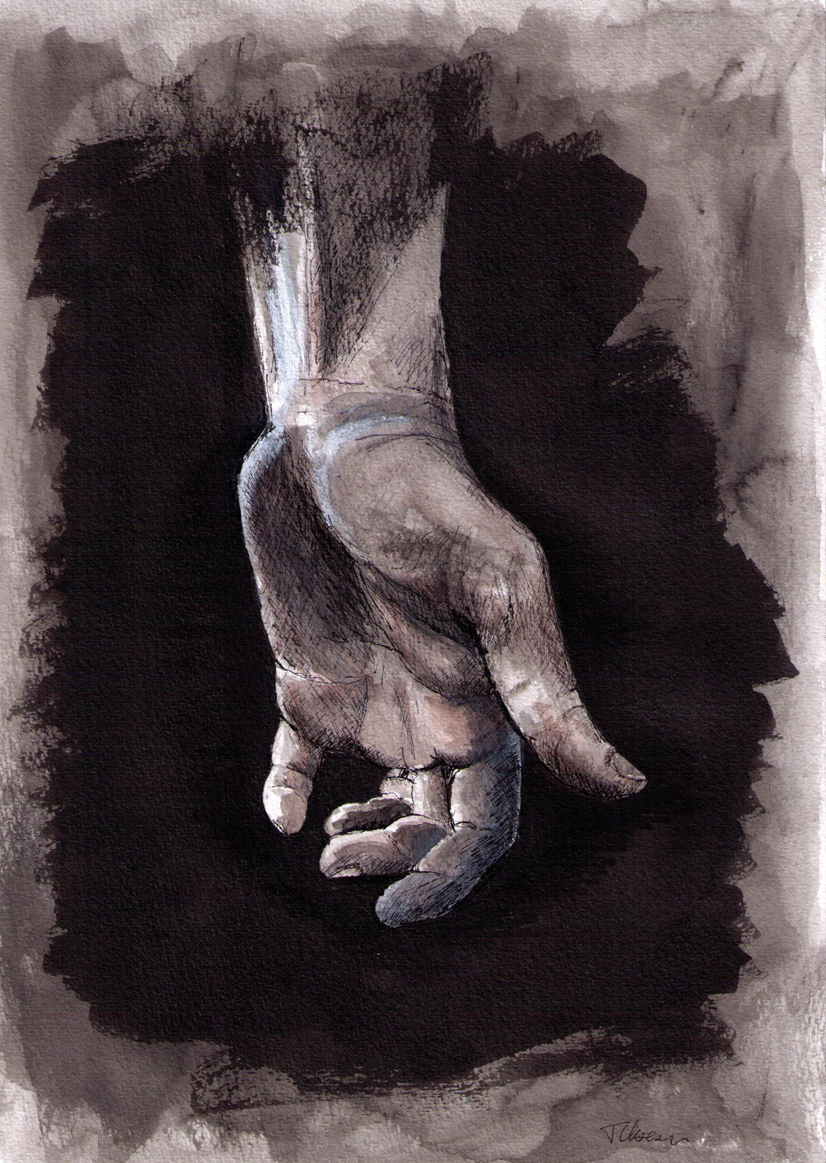 Drawing of a hand in mixed media