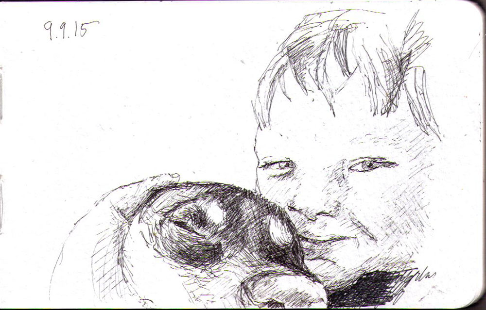 A sketch of a boy and his dog in ballpoint pen