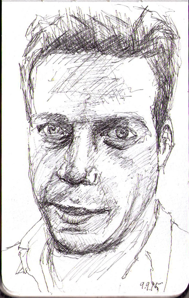Drawing of a man in ballpoint pen