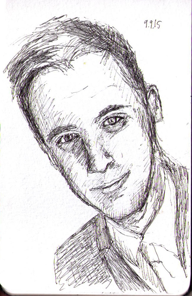 Sketch of a young man in ballpoint pen