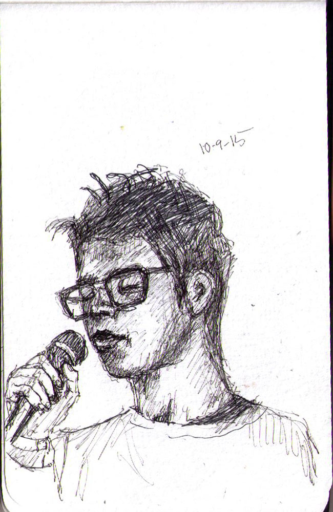 Drawing of a young man reciting poetry in ballpoint pen