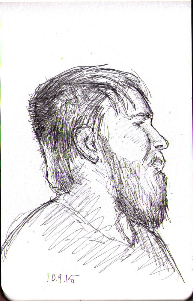 Drawing of a man with a beard in ballpoint pen