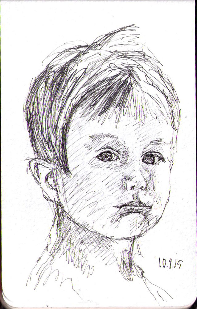 Drawing of a little boy in ballpoint pen
