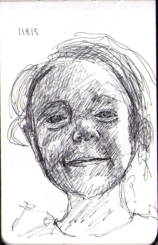 Sketch of a little girl in ballpoint pen