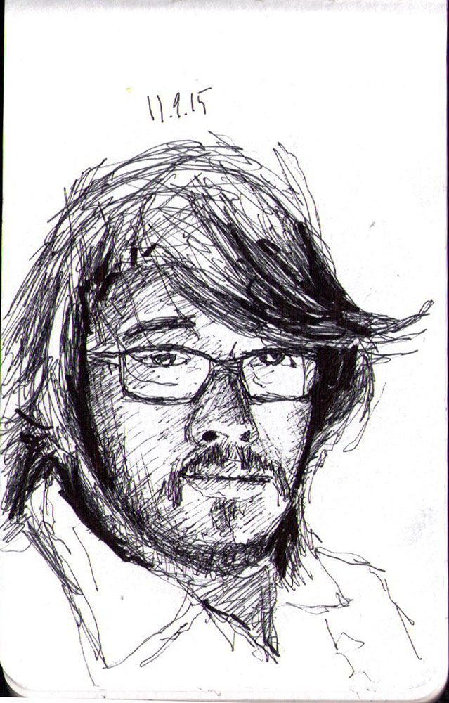 Drawing of a man with long hair in ballpoint pen