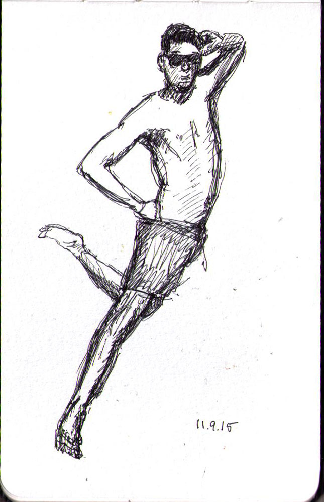 Drawing of a guy jumping in ballpoint pen