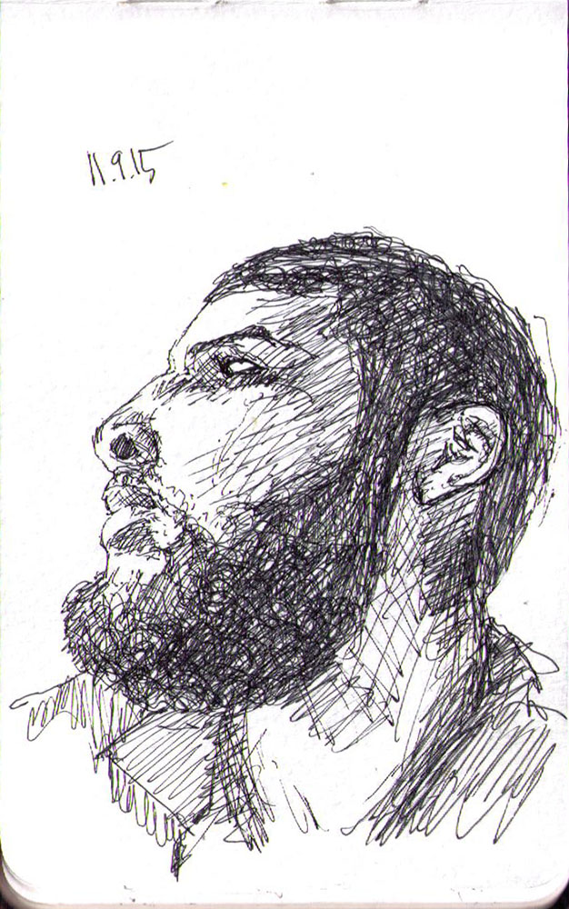 Drawing of a man with a black beard in ballpoint pen