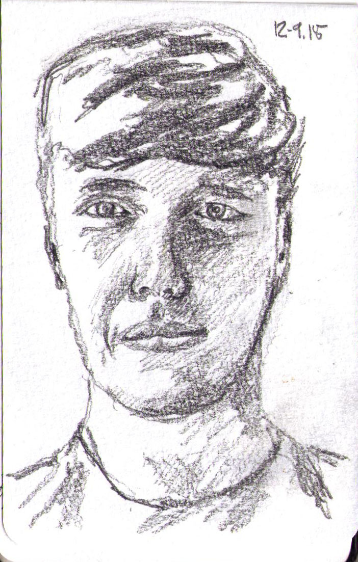 Pencil portrait of a young man